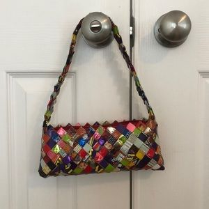 WOVEN CANDY/GUM WRAPPER SMALL SHOULDER BAG